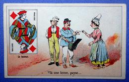 CHROMO COURBE-ROUZET..... CHICORÉE LA MAGICIENNE..NORD...CARTE A JOUER...VALET DE CARREAU...FACTEUR...LETTRE - Trade Cards