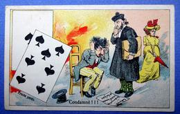CHROMO COURBE-ROUZET..... CHICORÉE LA MAGICIENNE..NORD...CARTE A JOUER...PIQUE...CONDAMNE..TRIBUNAL..JUGE..PROCÈS - Trade Cards
