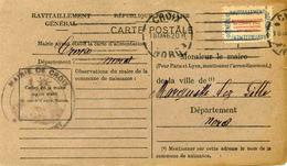 Carte De Ravitaillement, Mairie De CROIX (Nord) - Cachet à Date De 1946 - Marcophilie (Lettres)