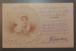 Belle Carte Art Nouveau - Groet Uit Vlanderen -Verso:Pub - Spa - Exposition Balnéologie - Juillet-août 1907 -Cachet Gand - Altri