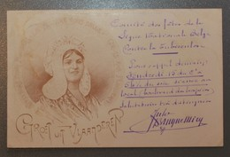 Belle Carte Art Nouveau - Groet Uit Vlanderen -Verso:Pub - Spa - Exposition Balnéologie - Juillet-août 1907 -Cachet Gand - Belgique