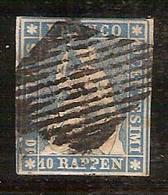 (Fb).Svizzera.1854-62.-10r Azzurro Usato,filo Verde,carta Normale (495-15) - 1854-1862 Helvetia (Ungezähnt)