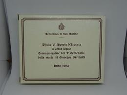 Serie Divisionale San Marino 1982 Dittico Di Monete D'argento II° Centenario Morte Giuseppe Garibaldi - Saint-Marin