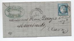 1876 - LETTRE Avec CONVOYEUR STATION De  PONTANEVAUX (SAONE ET LOIRE) - Marcophilie (Lettres)