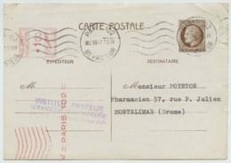 Entier Type Mazelin 1947 Complété Par EMA . Institut Pasteur Pour Montélimar . - Cartes Postales Types Et TSC (avant 1995)