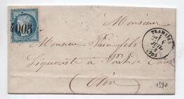 1874 - LETTRE Avec TYPE 16 De TRAMAYES (SAONE ET LOIRE) & GC 4005 - Marcophilie (Lettres)