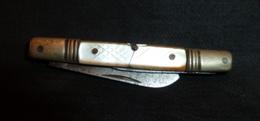 Petit Couteau Ancien - Manche Nacre , Une Lame - Cuchillos