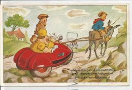 """Couple En Side-car """"Hirondelle"""" Tracté Par Un âne:"""" Nous Mangeons Des Kilomètres..."""" Signée R. Mon - Humor"""
