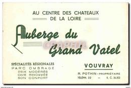 Carte De Visite Auberge Du Grand Vatel Vouvray Pothin Proprietaire - Cartes De Visite