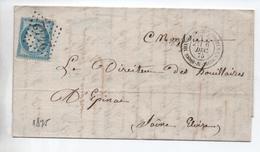 1875 - LETTRE COMMERCIALE De MONTCHANIN LES MINES (SAONE ET LOIRE) Avec GC 2442 - Marcophilie (Lettres)