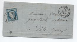 1876 - LETTRE Avec TYPE 16 De VERDUN SUR SAONE (SAONE ET LOIRE) OBLITERANT LE TIMBRE - Marcophilie (Lettres)