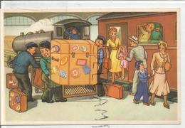 Epreuve De Carte à Système. Famille Embarquant Dans Un Train. Très Grosse Valise. - Estaciones Con Trenes
