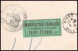 52614 Deux Sevres Niort 1915 Hopital Temporaire 4 Sante Guerre Manufrance St Etienne Fragment De Lettre 1914/1918 War - Marcophilie (Lettres)