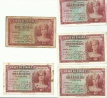 5 BILLETS DE 10.....DIEZ PESETAS 1935 - 10 Pesetas