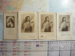 4 Images Religieuses De Sainte Thérèse De L'Enfant Jésus Dont Une Avec Relique - Santini