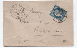 1876 - ENVELOPPE Avec TYPE 17 De ETANG SUR ARROUX (SAONE ET LOIRE) OBLITERANT LE TIMBRE - Marcophilie (Lettres)
