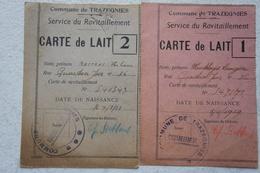 Carte De Ravitaillement Carte De Lait Milk Melk TRAZEGNIES Région Courcelles Godarville 1942 Cachet Marquage - Unclassified