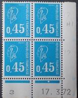 R1949/1442 - 1972 - TYPE MARIANNE DE BECQUET - BLOC N°1663 TIMBRES NEUFS** CdF Daté - Dated Corners