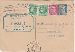 1949 / Entier Marianne Gandon + Complément / S. MOLEUX / Epicerie / 14 Deauville Calvados - Autres