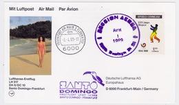 Dominican Republic - Germany, 1989, Lufthansa First Flight, Santo Domingo To Frankfurt With DC10 - Dominican Republic
