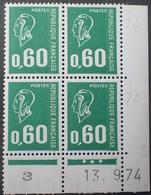 R1949/1455 - 1974 - TYPE MARIANNE DE BECQUET - BLOC N°1814 TIMBRES NEUFS** CdF Daté - Dated Corners