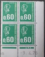 R1949/1458 - 1975 - TYPE MARIANNE DE BECQUET - BLOC N°1814 TIMBRES NEUFS** CdF Daté - Dated Corners