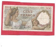 BILLET 100 FRANCS CERES . BH.28-12-1939.BH. S.5672  N° 141792165 . VOIR SCANS - 1871-1952 Anciens Francs Circulés Au XXème