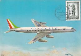 DOUGLAS SUPER DC-8. ALITALIA, COMPAÑIA AEREA OFICIAL JUEGOS OLIMPICOS, OLYMPIC GAMES. YEAR 1960, CPA NON CIRCULEE -LILHU - 1946-....: Era Moderna
