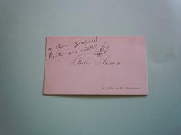 Carte De Visite Autographe JULES SIMON (1814-1896) MINISTRE - Autographs