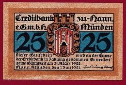 Allemagne 1 Notgeld 25 Pfenning Stadt Hann-Münden   Dans L 'état N °5273 - Collections