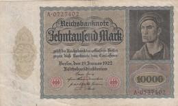 10000 - REICHSBANKNOTE BEHNTAUFEND MARK. BERLIN 1922. GERMAN TICKET, BILLET ALLEMAND, BILLETE ALEMÁN -LILHU - [ 3] 1918-1933: Weimarrepubliek