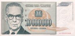 Jugoslavia 10 Million Dinara, P-122 (1993) - UNC - Jugoslawien