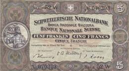SCHWEIZERISCHE NATIONALBANK - FUNF FRANKEN, CINQ FRANCS, CINQUE FRANCHI. ANNEE 1951, BILLET SUISSE, SWISS TICKET -LILHU - Suisse
