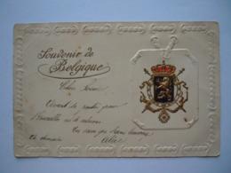 Souvenir De Belgique Blason Blazoen Armoiries Gaufré Gelopen Circulée 1902 - Belgique