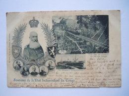 Souvenir De L'Etat Indépendant Du Congo Le Steamer Léopoldville Roi Leopold II Le Chemin De Fer Gelopen Circulée 1899 - Zonder Classificatie