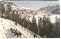 St. Moritz Dorf Mit Winter-Leben Farbelitho Um 1908 - GR Grisons