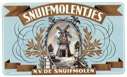 Etiquette De Boîte à Cigares, Lithographiée, Litho SNUIFMOLENTJES - N.V. DE SNUIFMOLEN (moulin à Vent). - Etichette