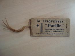 """5 ETIQUETTES """"PACIFIC"""" POUR DES EXPEDITIONS - Vieux Papiers"""