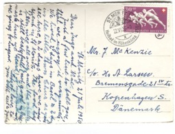 SWITZERLAND 1950, Confoederatio Helvetica, 30+10 C. De Luxe Handstamp Solo Perfect Dents On Postcard To Denmark SG 525 - Schweiz
