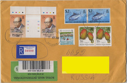 2004 British Virgin Is. Addressed Registered Cover. 7 Stamps: Sir A. Lewis - Nobel Prize; Festival, Mango, Fish Bonito. - British Virgin Islands