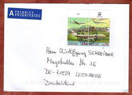 Brief, Transportflugzeug Im Zusammendruck, Geneve Nach Leonberg 2013 (83304) - Office De Genève