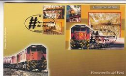 FERROCARRILES DEL PERU - PERU, AÑO 2004, FDC SOBRE PRIMER DIA EMISION -LILHU - Trenes