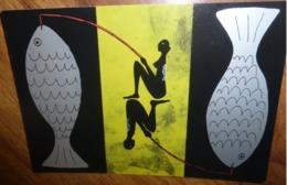 """Carte Postale """"Cart'Com"""" (2003) - Bon'fem Bon'hom (cart'fish) Carte à Découper (poisson D'avril) Lecasble - Publicité"""