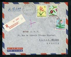 """CONGO BELGE """"STANLEYVILLE - 1  D 11/2/57"""" Sur N° 307 + 316 + 319. Sur Enveloppe RECOMMANDEE Par Avion Pour La France - Belgian Congo"""