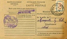 Carte De Ravitaillement, Mairie De BILLY-BERCLAU (Pas De Calais) - Cachet à Date Du 18 Octobre 1946 - Marcophilie (Lettres)
