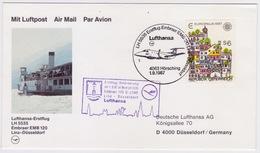 Austria - Germany 1987, Lufthansa First Flight, Linz To Dusseldorf With EMB120 - FDC