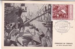 EMBARQUE DE CEREALES, POR BENITO QUINQUELA MARTIN. ARGENTINA POSTAL FDC 1961. DIA DE EMISION -LILHU - Modernos