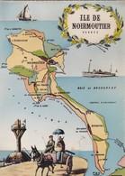 85. ILE DE NOIRMOUTIER.. CPSM. CARTE GÉOGRAPHIQUE ILLUSTRÉE DE L'ÎLE - Ile De Noirmoutier