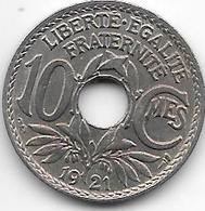France 10 Centimes  1921 Km 866a   Xf - France