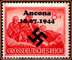 WW2 - SS Artillery Mortar Gunners Unposted Stamp Overprint Ancona 18.07.1944 Großdeutsches Reich / Grossdeutsches Reich - Duitsland